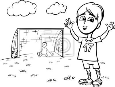 Póster Niño Jugando Fútbol Para Colorear