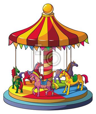 Ninos Carrusel Con Caballos De Colores Vector Carteles Para La