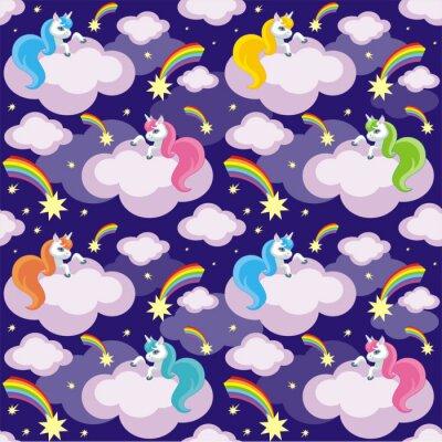 Póster Niños de hadas patrón transparente con la imagen de unicornios lindo. Colorido vector de fondo