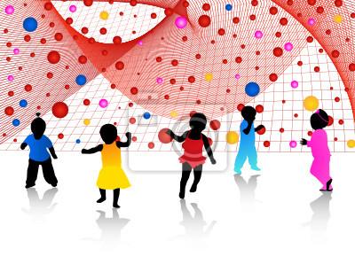 Niños siluetas y abstracto