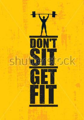 Póster No te sientes Ponerse en forma. Entrenamiento y Fitness Gym Design Element Concept. Vector creativo personalizado signo sobre fondo grunge