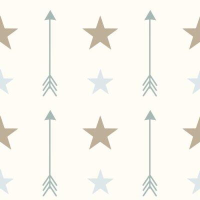 Póster Nórdico estilo colores flechas y estrellas seamless vector patrón ilustración de fondo