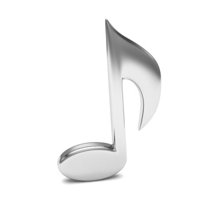 Póster Nota de música 3D, en blanco