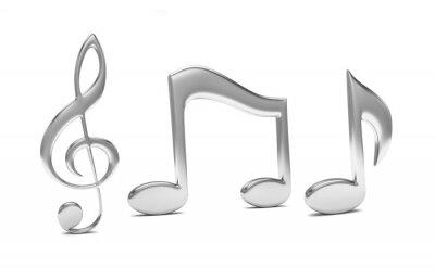Póster nota musical en 3D, sobre fondo blanco