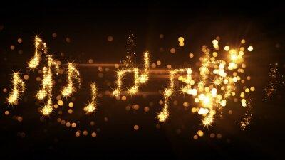 Póster Notas musicales brillantes y fuegos artificiales