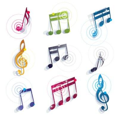 Póster Notas musicales iconos conjunto.