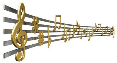 Póster Notas Oro Music On Líneas onduladas