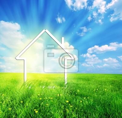Nueva casa en la imaginación verde pradera
