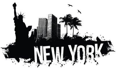 Póster Nueva York Banners negro
