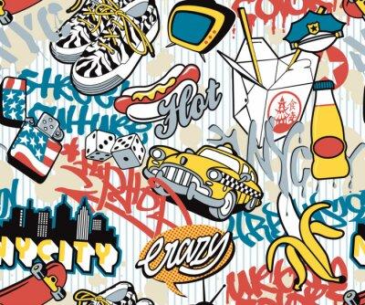Nueva York, elementos de collage sin costura urbanas