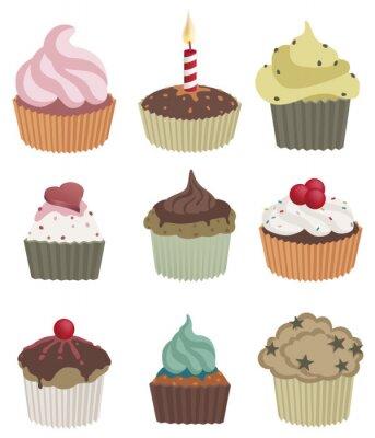 Póster Nueve cupcakes. Ilustración vectorial de nueve delicioso cupcakes.