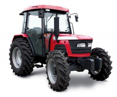 Póster Nuevo tractor rojo aislado en fondo blanco