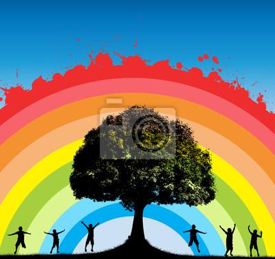Oak Tree con Happy siluetas niños en Splashy Rainbow