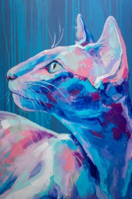 Póster Oil cat portrait painting in moon tones. Conceptual abstract painting of a cat muzzle. Closeup of a painting by oil and palette knife on canvas.