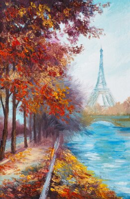 Póster Oil painting of Eiffel Tower, France, autumn landscape