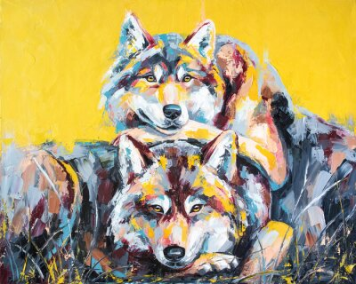 Póster Oil wolf portrait painting in multicolored tones. Conceptual abstract painting of a couple wolves. Closeup of a painting by oil and palette knife on canvas.