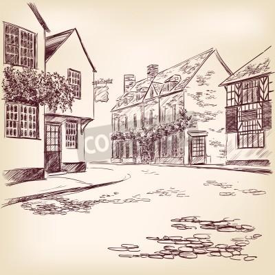 Póster old English street  hand drawn