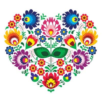 Póster Olk polaco del arte del arte del bordado del corazón - Lowickie wzory