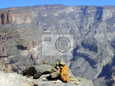 Omán, paisaje de montañas de Omán gran cañón