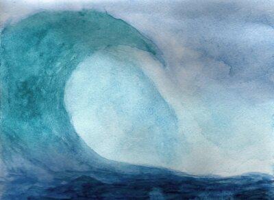 Póster Onda de océano en acuarela