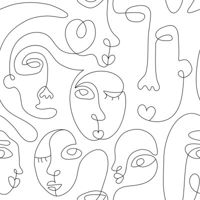 Póster One line drawing abstract face seamless pattern. Modern minimalism art, aesthetic contour. Continuous line background with woman and man faces. Vector group of people