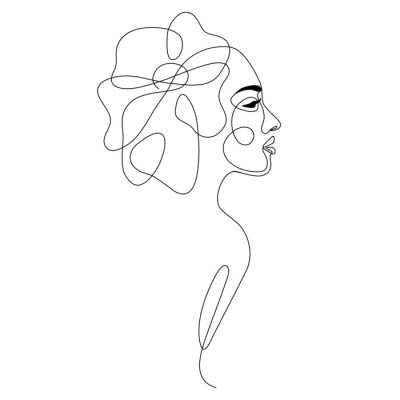 Póster One line drawing abstract woman face with flower in her hair. Continuous line art female portrait. Modern minimalism, aesthetic contour. Vector beauty illustration