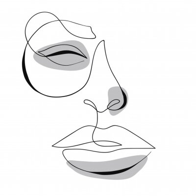 Póster One line drawing face. Modern minimalism art, aesthetic contour. Abstract woman portrait minimalist style. Single line vector illustration