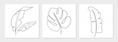 Póster One line drawing vector monstera leaf and banana tree leaves. Modern single line art, aesthetic contour. Perfect for home decor such as posters, wall art, tote bag, t-shirt print, sticker, mobile case