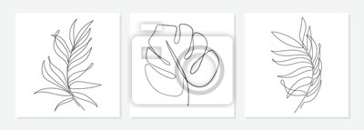 Póster One line drawing vector monstera leaf and palm tree leaves. Modern single line art, aesthetic contour. Perfect for home decor such as posters, wall art, tote bag or t-shirt print, sticker, mobile case