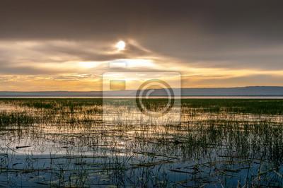 Opinión de la tarde en el lago Awasa