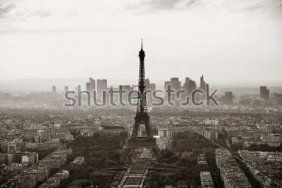 Póster Opinión del tejado de la ciudad de París con la torre Eiffel blanco y negro.