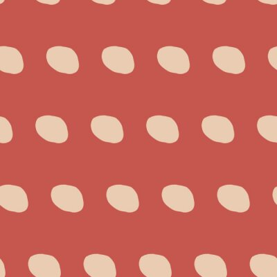 Póster Orange hand drawn abstract circles. Seamless pattern. Stylish repeating texture. Modern. Simple. Cut paper.
