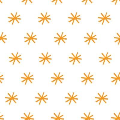 Póster Orange Retro vintage star seamless repeat pattern.