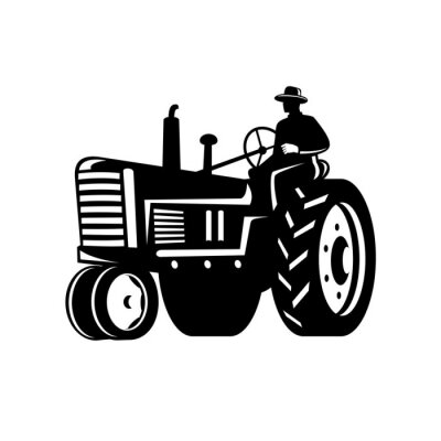 Organic Farmer Driving Vintage Tractor Retro Silhouette Black and White
