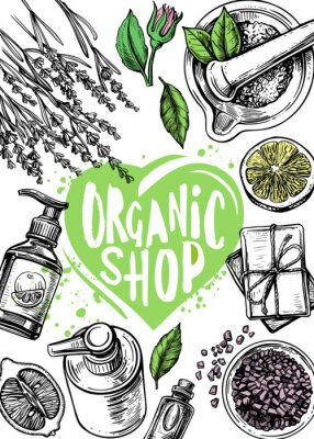 Póster organic store cosmetics