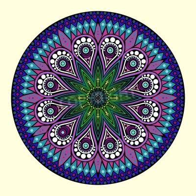 Póster ornamental de encaje redondo, de fondo círculo con muchos detalles, se parece a crochet encaje hecho a mano