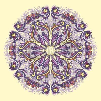 Póster Ornamental round floral lace pattern  kaleidoscopic floral pattern, mandala