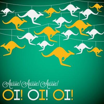 Póster Ornamento del canguro Tarjeta del día de Australia en formato del vector.