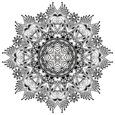 Póster Ornamento del círculo de encaje, tapetito ornamentales ronda patrón geométrico, negro y blanco colección