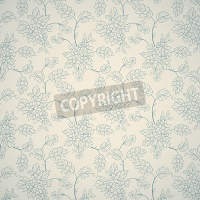 Póster Ornamento floral azul sobre fondo claro