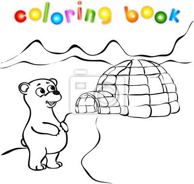 Oso Polar Yurta Hielo Iglú Libro Para Colorear Carteles Para La