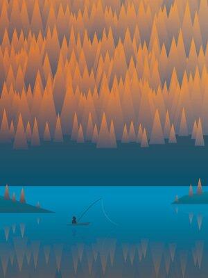 Póster Otoño paisaje vector de fondo con árboles de follaje y un lago. Pescador de pesca de su barco
