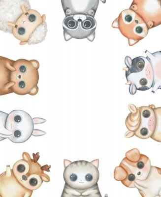 Póster Oval frame composition with kawaii cartoon cute cat, dog, bear, fox, rabbit, cow, raccoon, deer, sheep and pony isolated on white background. Watercolor hand drawn illustration