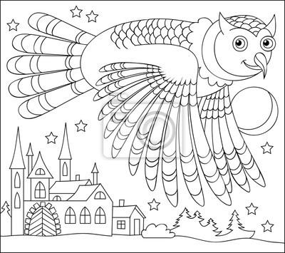 Póster Página En Blanco Y Negro Para Colorear Dibujo De Búho Volando