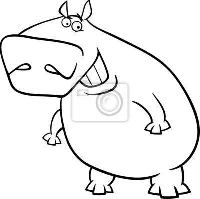 Página para colorear de dibujos animados hipopótamo carteles para la ...