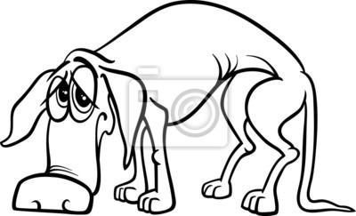 Póster Página Para Colorear Perro Sin Hogar Triste