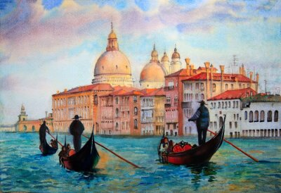Póster Painting of Venice Italy, painted by watercolor