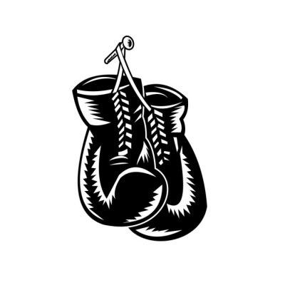 Pair of Boxing Gloves Hanging on Nail Retro Woodcut Black and White