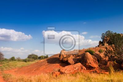 Paisaje africano con rocas rojas