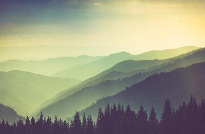 Póster Paisaje brumoso de las colinas de la montaña del verano.